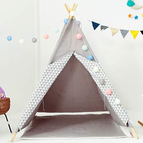 [TIPI ZELT MIT SPIELMATTE] Indianerzelt für Kinder - für Kinderzimmer - Wigwam 140x120x120cm - Tipi tent Baumwollsegeltuch - Für in und um ihr haus - mit 4 Holzstangen und Fenster - Grau mit Zubehör