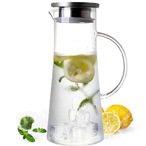 MUHOO Glas Krug 1,5L Glaskaraffe mit Deckel Glas Karaffe Wasserkrug aus Borosilikatglas Wasserkaraffe Wasserkrug Glaskaraffe Getränkekaraffe