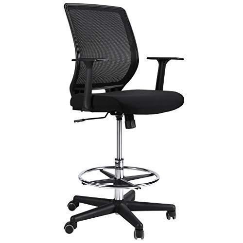 Ergonomischer Bürostuhl, Slypnos Stehhilfe barhocker mit Lehne, Mesh Drehstuhl mit Ringfußstütze, höhenverstellbar Profi Arbeitsstuhl für Tische mit verschiedenen Höhen, max. 120 kg, schwarz