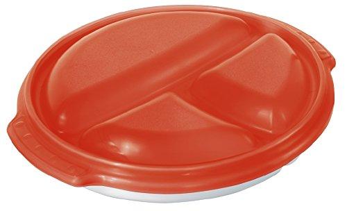 Rotho 1711902792 Mikrowellen-Teller 'Micro Clever'- Menüteller mit Unterteilungen - Plastik - BPA-frei - weiß / rot - 25.5 x 23.5 x 5 cm (LxBxH)