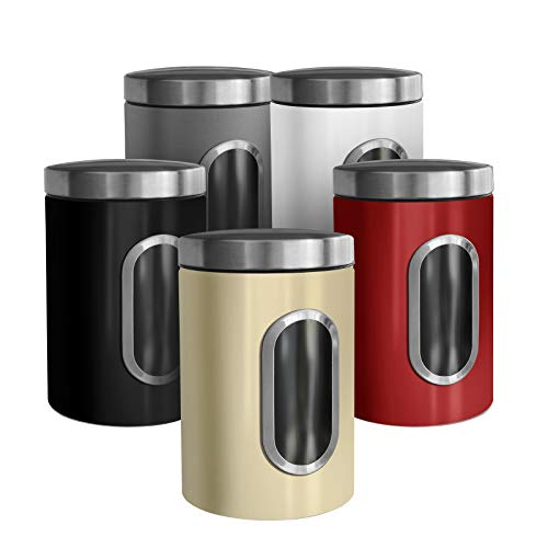 casa pura Trendige Vorratsdose Scatola zur Aufbewahrung von Mehl Zucker Müsli Kaffee Tee | Metalldose mit luftdichtem Deckel | Großes Sichtfenster | In 5 Farben (1 Stück, grau)