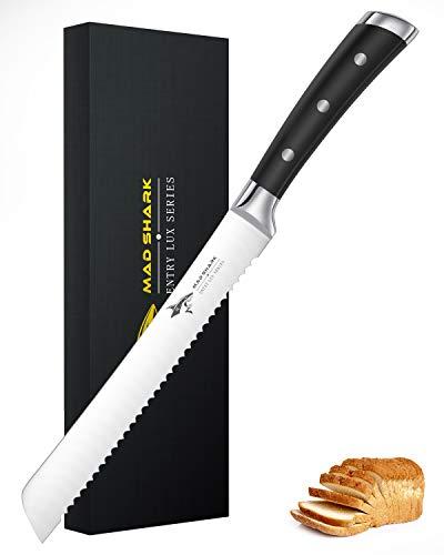 MAD SHARK Brotmesser 8-Zoll-Profi-Zackenbrotschneider, Deutsches Edelstahl-KUchenmesser mit Hohem Kohlenstoffgehalt und Ergonomischem Griff, Ultrascharfes Bäckermesser