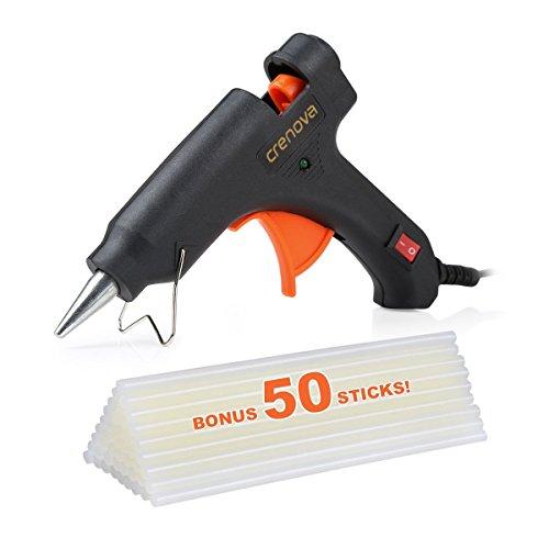 Crenova Heißklebepistole Klebepistole + 50 Heißklebesticks Transparente Klebesticks für DIY Kleine Handwerk und schnelle Reparaturen in Haus & Büro, 20Watt Klebepistolen