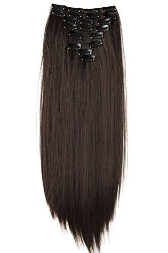 PRETTYSHOP XXL 60cm 8 teiliges SET Clip In Extensions Haarverlängerung Haarteil hitzebeständig glatt braun #6 CES22