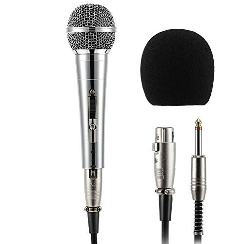 Moukey MWm-3 Dynamisches Mikrofon mit 5M/16.40 ft XLR-Kabel, kompatibel mit Karaoke Speaker Amp Mixer für Karaoke, Hochzeit, Bühne und Outdoor