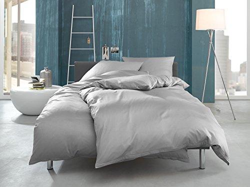 Bettwaesche-mit-Stil Mako Interlock Jersey Bettwäsche Garnitur uni/enfarbig 100% Baumwolle (135 cm x 200 cm + 80 x 80 cm, Grau)