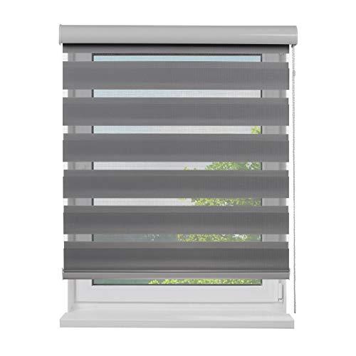 Doppel-Rollo mit Aluminium-Kassette, 120 x 180 cm (BxH), Farbe Grau, lichtdurchlässig u. blickdicht, Sichtschutz, Sonnenschutzrollo, Rollos für Fenster, Doppelrollo mit Blende in Weiß für Innen-Bereich