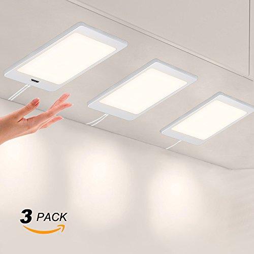 LED Küchenunterbauleuchten Schrankleuchten Flach mit Berührungsloser Sensor Schalter Hohe Helligkeit 450Lm/ Lampe Beleuchtung Neutralweiß 4000K 3er 5W Lampen und 1er Netzteil von Enuotek