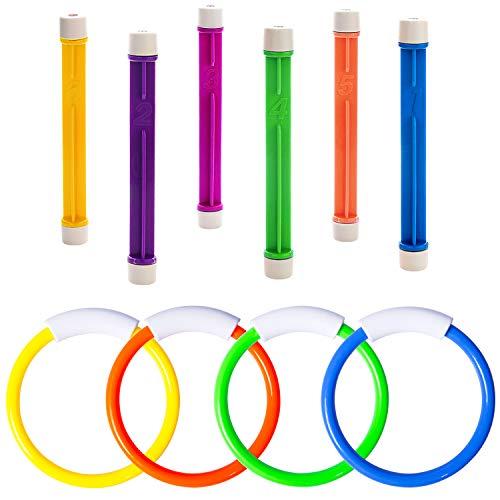 YHmall 10 Stücke Tauchen Spielzeuge, 4 STK. Tauchringe und 6 STK. Tauchstäbe Tauchsticks Sommer Unterwasser Schwimmen Pool Spielzeuge für Kinder