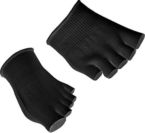 GreatIdeas Gel-Zehensocke, ideal für Athleten, zu Heilung des Fußes, stoßdämpfend, getrennte und offene Zehen, feuchtigkeitsspendend - keine trockene Haut, 2x Pairs - BLACK
