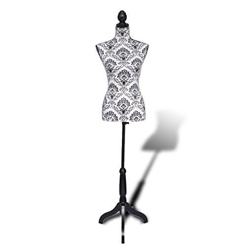 vidaXL Damenbüste Schneiderpuppe Büste Torso Angezogen Mannequin schwarz/ weiß