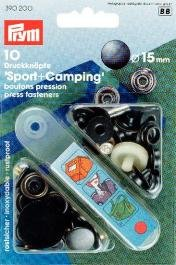 Prym Druckknöpfe Sport & Camping, 15mm, Stahl Antikoptik, kein Nähen erforderlich, Schwarz, 10Stück
