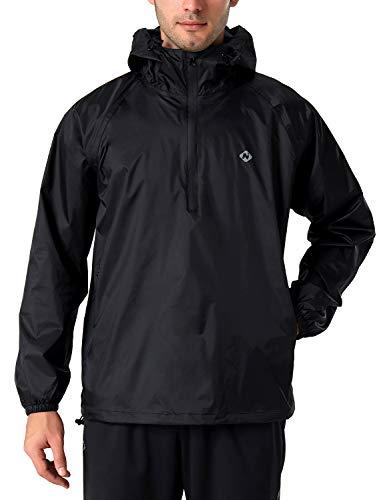 NAVISKIN Herren Regenjacke wasserdicht Fahrrad Jacke 1/2 Zip Outdoor Regenkleidung Kapuze Schwarz Größe L