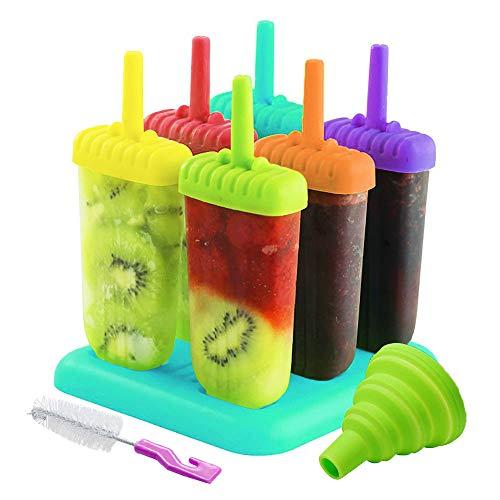 AcserGery Eisformen 6 Eisformen Popsicle Formen Set, EIS am Stiel Bereiter für Kinder, mit Reinigungsbürste und Falttrichter