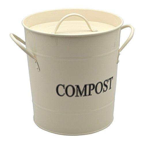 Metalleimer für Kompostabfälle/Garten/Gewächshaus - Cremefarben