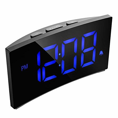 Digitaler Wecker, PICTEK Digitaluhr, alarm clock, 5'LED-Display, Randlos Kurve, Dimmer, Snooze, 12/24 Stundenanzeige, 3 Alarmtöne mit 2 einstellbare Lautstärke, Naturgeräusche, USB-Stromanschluss(ohne Adapter) -Blau