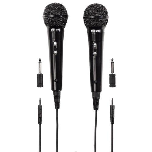 Thomson 2x Dynamisches Mikrofon M135D (Doppelpack, Nierencharakteristik, 3,5 mm Klinkenstecker, Kabellänäge 3 m) schwarz