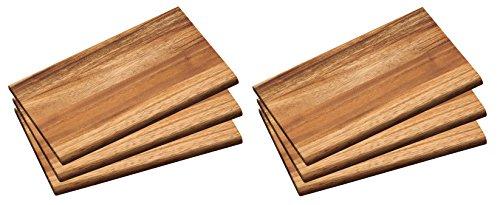 6x Frühstücksbrett 6 Frühstücksbrettchen Holz Akazie Essbrett Kesper # 23403