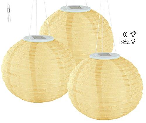 Lunartec Solar Laternen Lampions: Solar-LED-Lampion, Dämmerungs-Sensor, IP44, warmweiß, 30 cm Ø, 3er-Set (Solar-LED-Lampions mit Lichtsensoren)