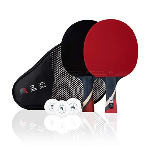 Everletics Tischtennis Set - 2 x Tischtennisschläger (1,8mm Schwamm) und 3-Stern-Bälle, 2er Set