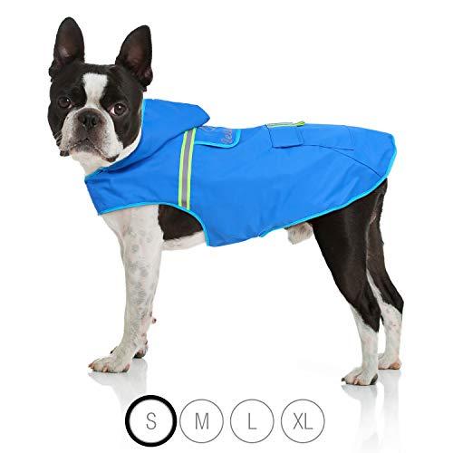 Bella & Balu Hunderegenmantel - Wasserdichter Hundemantel mit Kapuze und Reflektoren für trockene, sichere Gassigänge, den Hundespielplatz und den Urlaub mit Hund (S | Blau)