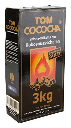 Tom Cococha Gold 3 kg-Wasserpfeifenkohle aus Kokosnussschalen-Würfel ca. 25 x 25 mm Shisha Kohle, Kohlenstoff, Schwarz, 30 x 15 x 10 cm