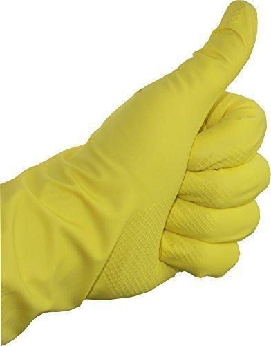 12 Paar Gummihandschuhe Latex baumwollgefüttert gelb Haushaltshandschuhe Handschuhe Medi-Inn (XL)