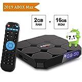 Android TV Box 7.1, ABOX A1 Max 64 Bit Viererkabel-Kern Intelligenter Fernsehkasten Amlogic S905w mit 2GB RAM 16GB ROM unterstützt 1080p/4K volles HD