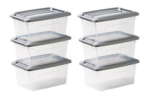 IRIS, 6er-Set stapelbare Aufbewahrungsboxen / Kisten / Stapelboxen 'New Top Box', NTB-5, mit Klickverschluss, Plastik, silberer Deckel, 5 L, 28,5 x 19,5 x 14 cm