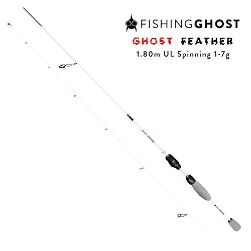 FISHINGGHOST Ultraleicht Spinnrute Feather 1,80m Wurfgewicht: 1-7g Angelrute - Spinnrute - Steckrute - direkte Kraftübertragung beim Fischen auf Forelle, Saibling, Barsch