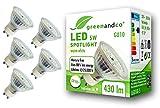 5x greenandco CRI90+ LED Spot ersetzt 50 Watt GU10 Halogenstrahler, 5W 430 Lumen 3000K warmweiß SMD LED Strahler 110° 230V AC Glas mit Schutzglas, flimmerfrei, nicht dimmbar, 2 Jahre Garantie