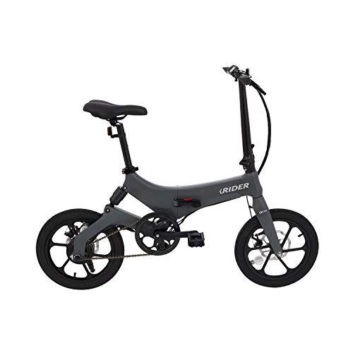 Marktneuheit 2019 Elektro Klapprad bis zu 50km Reichweite und 25km/h Geschwindigkeit überall Mitnehmen Faltrad e-Bike 16' Camper Bike Pedelec Straßenzulassung (Grau)
