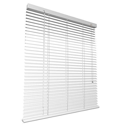 Levivo Aluminium-Jalousie mit Schnurzug, in der Länge individuell kürzbar, Weiß, 90 x 130 cm