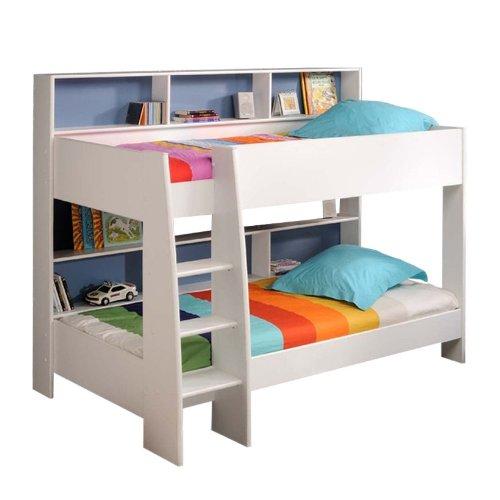 prisot 90x200 Kinder Etagenbett Doppelstockbett Weiß Rückwand Blau und Pink Drehbar
