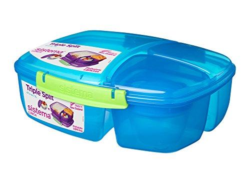 Sistema Lunch Triple Split Lunchbox mit Joghurttopf, 2Liter, plastik, blau / grün, 24.5 x 20 x 9 cm