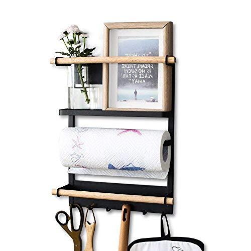XINGDOZ Kühlschrank Regal Magnet Gewürzregal Papierhandtuchhalter-Spender Küchen Organizer Veranstalter Mehrzweckablage mit Haken, Schwarz (M)