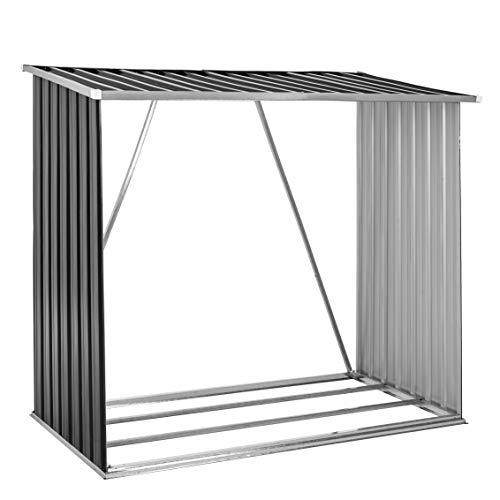 ESTEXO Holzunterstand aus Trapezblech in Grün RAL 6005 oder Anthrazit RAL 7016, Kaminholzregal aus Metall, Unterstand (Anthrazit)