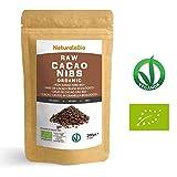 Roh Kakao Nibs Bio 200g   Organic Raw Cacao Nibs   100 % Rohkost, natürlich und rein   Produziert in Peru aus der Theobroma Cocoa Pflanze   Superfood reich an Antioxidantien, Mineralien und Vitaminen.