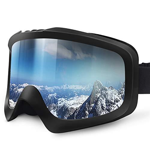 Karvipark Skibrille, Ski Snowboard Brille Brillenträger Schibrille Verspiegelt, Doppel-Objektiv OTG UV-Schutz Anti Fog Damen Herren Kinder für Skifahren Snowboard (Klassisch-Silber VLT15%)