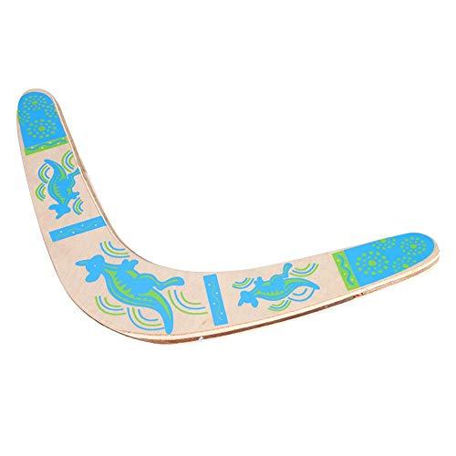 Boomerang Wooden Blue Throwback V-förmige Boomerang Flying Disc Throw Catch für Kinder Outdoor Spiele Sport Geschenk Spielzeug
