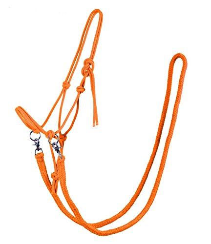QHP Knotenhalfter mit Zügeln robustes 10 mm dickes Seil verschiedene Farben u. Größen (Warmblut, Lime)