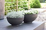 Wunderschöne Pflanzschale/Schale zum Bepflanzen – Runde Blumenschale - Kunststoff/Kunststoffschale - Winterfest (Groß: Ø 40cm, Anthrazit)