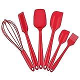HENSHOW Spatel Silikon Backen Set 6, Premium Antihaft Hitzebeständige Silikon Küchenutensilien Kochset   Schneebesen Silikon   Pinsel Silikon, Rote Farbe