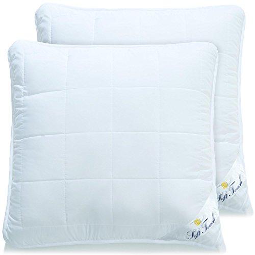 2er Set Kopfkissen 80x80 allergikergeeignete flauschige Kissen mit Reißverschluss zum Anpassen der Füllung, waschbar bis 95 Grad, atmungsaktiv Öko-Tex, aqua-textil Bettwaren Soft Touch 2000000