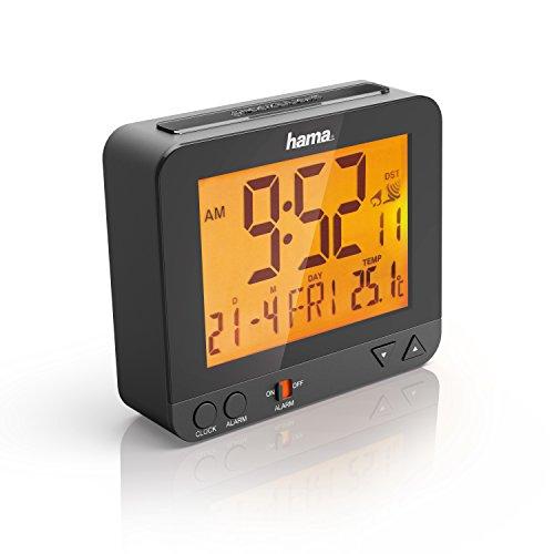 Hama Funk Wecker RC550 (sensorgesteuerte Nachtlichtfunktion, Schlummerfunktion, Temperatur- und Datumsanzeige) Digital schwarz