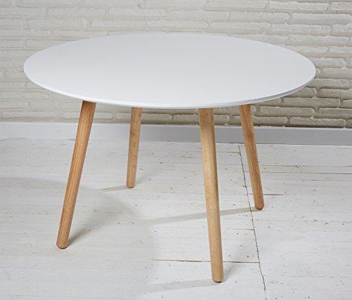 Esszimmertisch Esstisch rund 110 cm weiß natur Retro Design runder Tisch Küchentisch in skandinavischem Stil