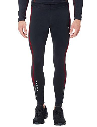Ultrasport Herren Laufhose lang, für Laufen, Radfahren, Fitness etc., angenehmes Tragegefühl durch hohen Stretchanteil, mit Quick-Dry-Funktion, Schwarz/Rot, XL