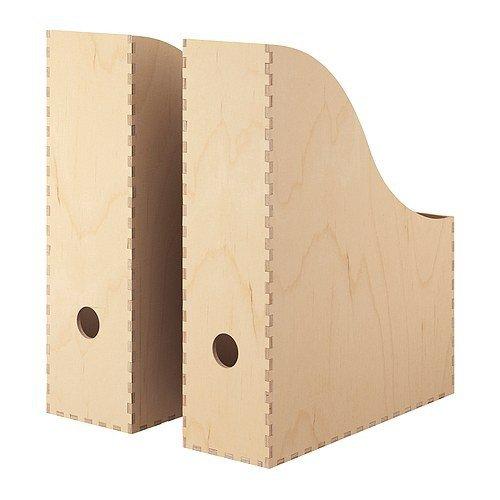 IKEA Zeitschriftensammler 'KNUFF' Holz-Aufbewahrungsbox im 2-er Set - 9x24x31cm und 10x25x31cm