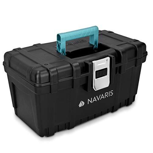 Navaris Werkzeugkasten 16' Box leer - 40,6 x 23,8 x 22cm - 19 Liter Volumen - mit einer Stahlschließe - Werkzeugbox Koffer Kiste ohne Werkzeug