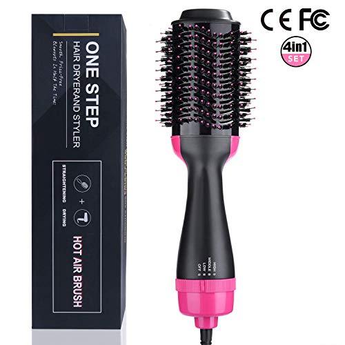 Aibesser 4 in 1 Haartrockner Multifunktionaler Warmluftbürste Hair Styler Volumenbürste Heißluftkamm Haarglätter Negativer Ionenfön Lockenbürste Lockenwickler für alle Haartypen